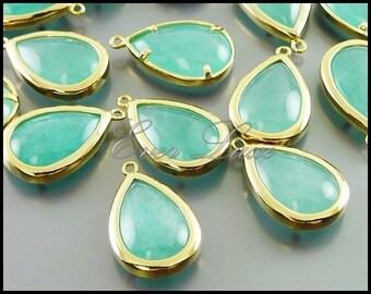 2 amazonite in bright gold bezel set pendants, synthetic semi precious stones, charms 5121BG-AZ