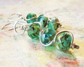 Jewelry, Earrings, Sterling Silver, Aqua Green Czech Glass, Beaded, Artisan, Dangle, Gift Box Included