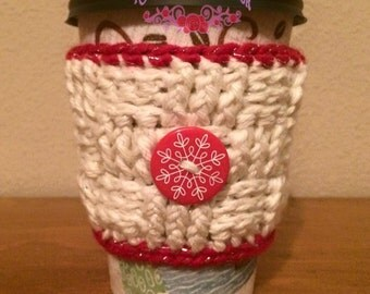 Crochet Coffee Cozy, Coffee Cup Cozy, Cup Sleeve, Mug Hug, Crochet, Button Cozy, Tea Cozy, Basketweave, Button Coffee Cozy, Coffee Sweater