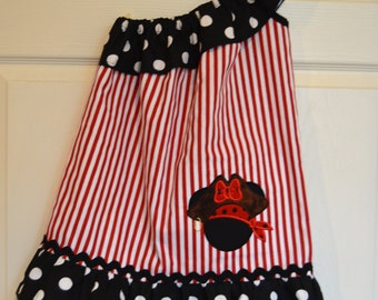 Minnie Mouse One Shoulder Pirate Dress (extra for personalization)