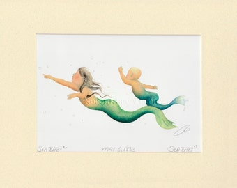 "Mermaid Baby Children Boy Girl Art Signed Robert Kline 5"" x 7"" Matted Print Nautical Home Nursery Beach House Decor Maternity Shower Gift"