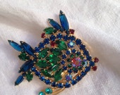 Juliana Rhinestone Angel Fish Brooch Green and Blue Hard to Find