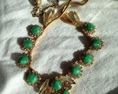 Juliana Faux Jade necklace Rhinestone Accents