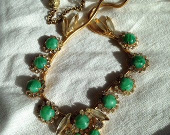 Juliana Faux Jade necklace Rhinestone Accents