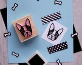 Dog Stamp - Boston Terrier Hand Carved Rubber Stamp