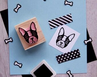 Dog Stamp - Boston Terrier Hand Carved Rubber Stamp - Gift Animal Lover -  Present Dog Lover - Pet Stamper - Puppy Gift - Scrapbooking