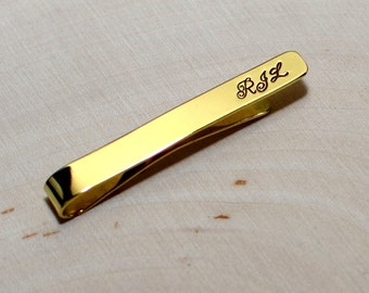 Personalized brass tie bar with initials and choice of 5 metals in 21 fonts TB662