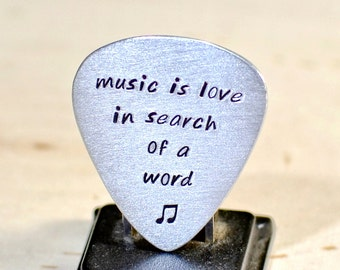 Custom Aluminum Guitar Pick Handmade with Music is Love in Search of a Word for Celebrating Love and 10th Anniversaries - GP872