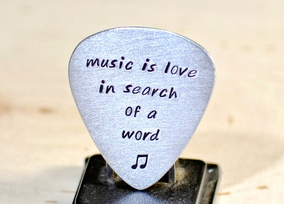 Music is Love in Search of a Word Aluminum Guitar Pick for Celebrating Love and 10th Anniversaries - GP872