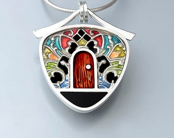 Ivy Woodrose sterling silver, PMC, and resin enamel door pendant