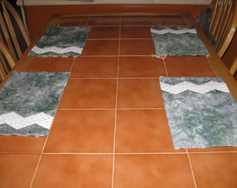 Gray Batik Quilted Placemats with a Touch of Green