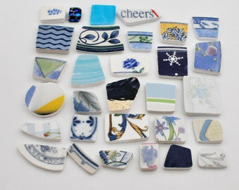 Broken China Mosaic Tiles - Shades of Blue - Assortment - Cabochon Collection - Set of 30