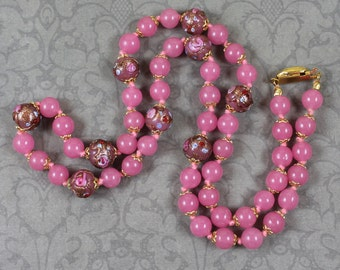 Vintage Pink and Gold Venetian Wedding Cake Glass Beaded Necklace