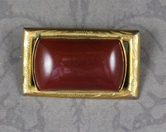 Vintage Art Deco Smooth Dark Orange Etched Gold Tone Rectangular Brooch