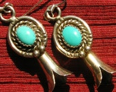 Southwest Sterling Silver Turquoise Squash Blossom Earrings