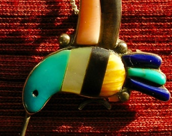 Southwest Sterling Silver Turquoise Multi Stone Inlay Hummingbird Pendant / Pin Necklace