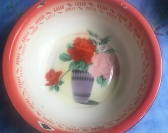 Enamelware Cobalt Trim Red Pin Roses Large Basin Very Old Nice Condition