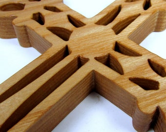 Cross / Ornate / Mid Size 7 inch / Ash Wood