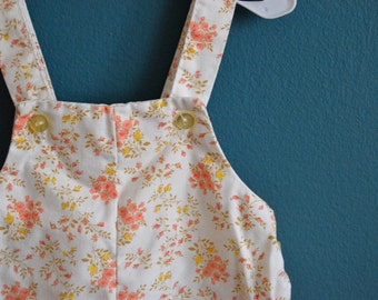 Vintage White Baby Overalls with Yellow and Peach Flowers - Size 6-9 Months