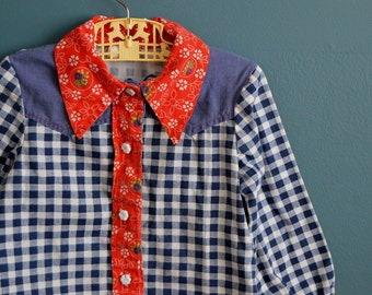 Vintage 1970s Girl's Western Shirt - Size 4T 5T