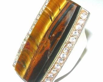 CIJ Christmas July SALE Bold MidCentury Art Deco Open back Tigers Eye Rock Crystal Sterling Silver Vintage Ring