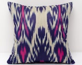 15x15 pink violet beige ikat pillow cover, pink pillows, pink violet ikats, pink, decorative pillow, throw pillow, accent pillow