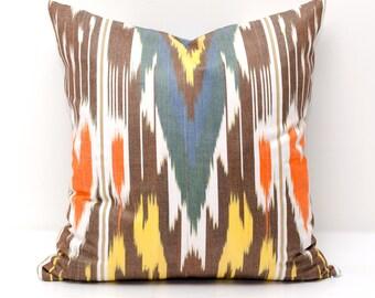 15x15 orange yellow brown ikat pillow cover, brown pillow, brown orange ikats, brown yellow, decorative pillow, throw pillow, accent pillow