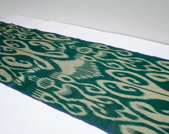 Green beige ikat fabric by the yards, Fully hand woven and hand dyed authentic ikat fabric