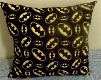 "BATMAN PILLOW (one pillow), Decorative Pillow, 18"" X 18"" - Hand Crafted"
