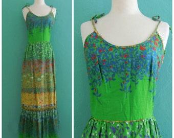 vintage 70's leslie fay green floral print maxi dress