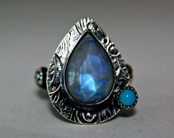 Rainbow Moonstone Gypsy Ring, Sterling Silver Sleeping Beauty Turquoise, Two Stone Ring