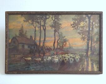 vintage Pastoral Sheep Print in Rustic Worn Carved Wood Frame. Shepherd Herding Flock to Barn at Sunset.