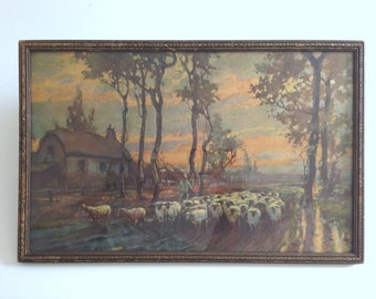 vintage Pastoral Sheep Print in Rustic Worn Frame. Shepherd Herding Flock to Barn at Sunset.