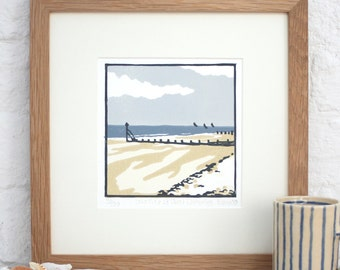 Hand Printed Low Tide at West Wittering Linocut Print