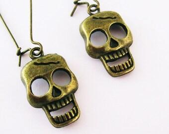 Bronze Skull Earrings, Skull Head, Punk Rock Emo Goth Fun