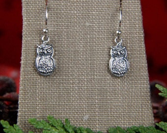 Owl charm earrings in sterling silver, owl earrings, bird earrings, animal charms, nature jewelry, oxidized, woodland