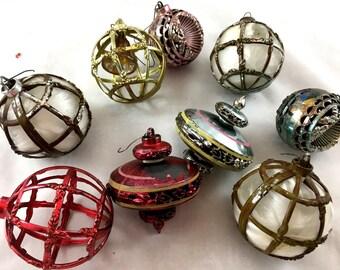 1950s Vintage Bradford Christmas Ornaments. Collection of 9 Plastic Ornaments. Cage Ornaments, Sputnik Atomic UFO Ornaments, Lantern, Balls