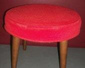 Vintage Bright Red Footstool