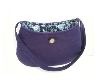 Navy Blue purse handbag padded blue aqua bird flower cotton fabric dark blue button pocket solid color shoulder bag, caroljoyfashions79