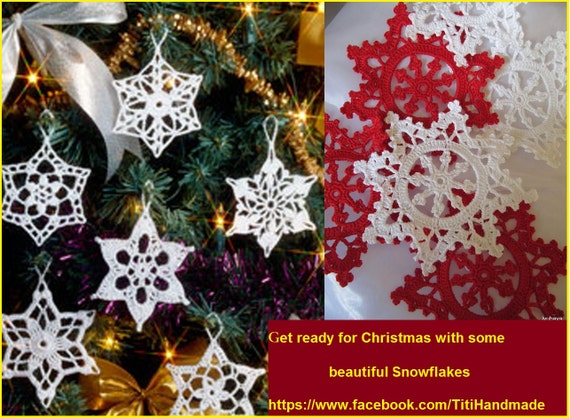 Original Snowflake Ornaments / Hand Crochet Christmas Garland in any color / Set of 6 Christmas ornaments / Stars Flowers / Pineapples