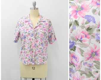 Vintage 1960s Blouse...Floral Button-up Top...Pink Purple Flower Blouse...Summer Button-up...Size Large to Extra Large