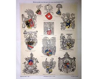 1894 CREST & ORDERS european HERALDRY lithograph original antique print 1