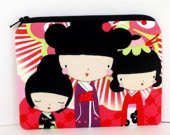 Small Zipper Pouch, Japanese Kokeshi Dolls, Coin Purse