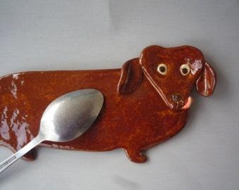 Rusty Brown Dachshund  Dog Spoon Rest