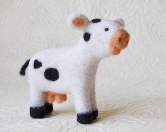 Cow, needle felted barnyard animal fiber art sculpture toys