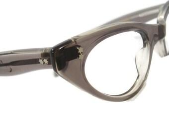 Vintage Swank 1960s Translucent Grey Horn Rim Cateye Eyeglasses Eyewear Frame France NOS