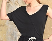 under 50, Black asymmetric shirt one shoulder off, extravagant top, grey T-shirt