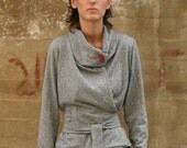 Winter Sale 15% Off!!! Back to stock!!! RED label in light grey wrap sweater elegant and cozy