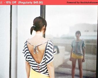 Winter Sale 15% Off!!! Under 50, Strips Open back  T-shirt choose your color