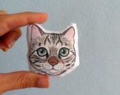 Cat Brooch, Stuffed Cat Plush Brooch, Miniature Animal art pin, cat pin, stuffed softie cat pin, holiday gift